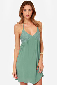 Just Another Daydream Sage Green Lace Dress