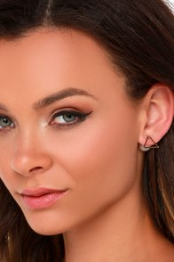 Shaping Up Gold and Pearl Peekaboo Earrings at Lulus.com!