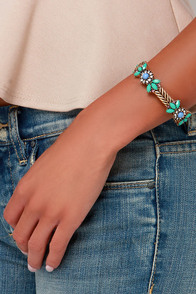 Know What I Gleam? Teal Rhinestone Bracelet at Lulus.com!