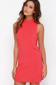 Make Your Mock Coral Red Dress at Lulus.com!