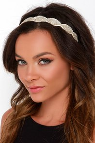 Magic Moonlight Ivory and Gold Beaded Headband at Lulus.com!