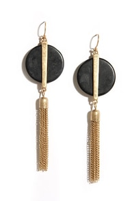This Time 'Round Black and Gold Tassel Earrings at Lulus.com!