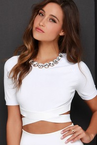 Nocturne Serenade Ivory Crop Top at Lulus.com!