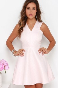 Incurably Romantic Blush Pink Skater Dress at Lulus.com!