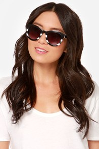 Colette White and Black Striped Sunglasses at Lulus.com!