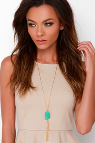 Keep Dreaming Gold and Turquoise Tassel Necklace at Lulus.com!