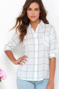 Park Picnic Light Blue and Ivory Grid Print Button-Up Top at Lulus.com!