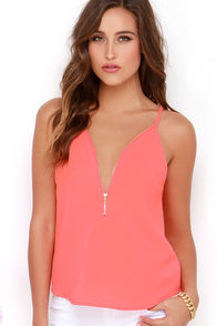 Zip into Chic Bright Coral Top at Lulus.com!