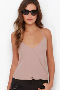 All the Stops Taupe Halter Top at Lulus.com!