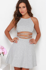 Drawn at Dawn Heather Grey Two-Piece Dress at Lulus.com!