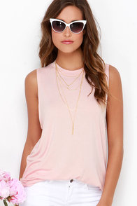 The Fifth Label Stay With Me Blush Pink Muscle Tee at Lulus.com!