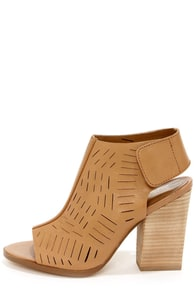 Report Signature Blade Tan Peep Toe Ankle Boots