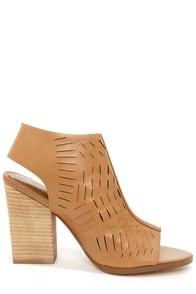Report Signature Blade Tan Peep Toe Ankle Boots at Lulus.com!