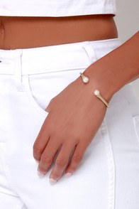 Make Believe Gold and Pearl Bracelet at Lulus.com!
