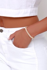 Bling My Bell Gold Rhinestone Bracelet at Lulus.com!