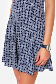 Later Skater Blue Print Dress at Lulus.com!