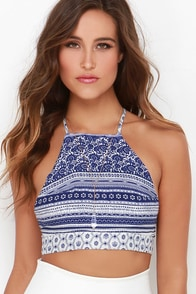 Riverside Strumming Blue Print Crop Top at Lulus.com!