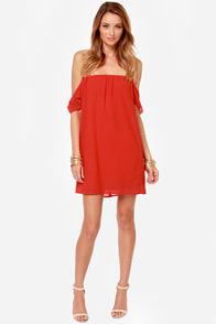 So In Lovely Off-the-Shoulder Red Dress at Lulus.com!