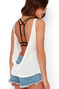 Tank Heaven Backless Ivory Top at Lulus.com!