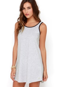 Rhythm My Tunic Heather Grey Dress at Lulus.com!