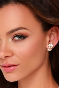 Flower Petals Gold and Pearl Peekaboo Earrings at Lulus.com!