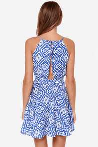 Lucy Love Printed Penelope Blue Print Dress at Lulus.com!