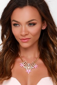 My Little Pretty Pink Rhinestone Statement Necklace at Lulus.com!