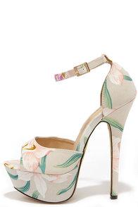 High Altitude Beige Floral Platform Heels at Lulus.com!