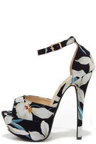 High Altitude Dark Navy Blue Floral Platform Heels at Lulus.com!