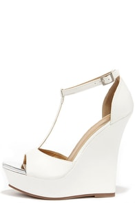 Grand Then Some White Peep Toe Wedges at Lulus.com!