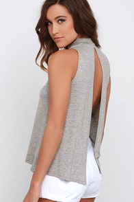 Open-Ended Heather Grey Backless Top at Lulus.com!