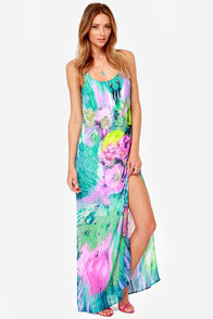 Yes I Canvas Blue Print Maxi Dress at Lulus.com!
