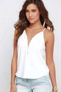 Zip into Chic Ivory Top at Lulus.com!
