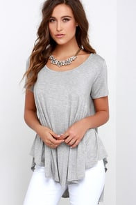 Every Open Door Heather Grey High-Low Swing Top at Lulus.com!