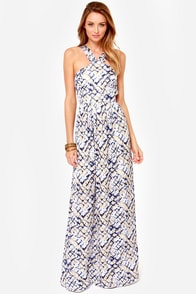 First Hiss Beige and Blue Print Maxi Dress at Lulus.com!