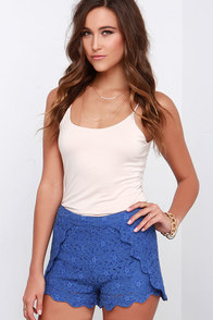Saunter Seaward Blue Lace Shorts at Lulus.com!