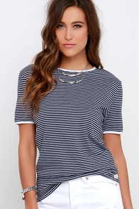 Rhythm The Strokes Gym Dandy Ivory and Navy Blue Striped Tee at Lulus.com!