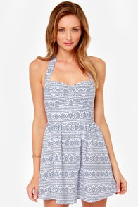 Talk of the Tribe Blue Print Dress at Lulus.com!