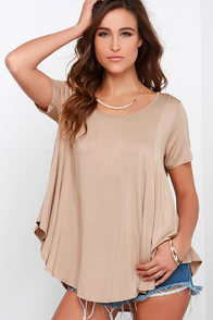 Every Open Door Beige High-Low Swing Top at Lulus.com!