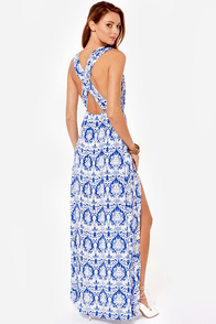 Draped in Damask Blue Print Maxi Dress at Lulus.com!
