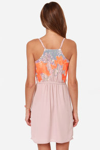 Fair Display Blush and Neon Orange Sequin Dress at Lulus.com!
