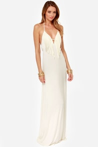 Frays the Roof Backless Ivory Maxi Dress at Lulus.com!