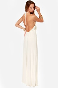 Frays the Roof Backless Ivory Maxi Dress