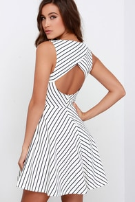 Others Follow Cross the Line Navy Blue and Ivory Striped Dress at Lulus.com!