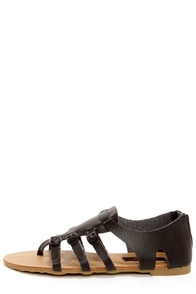 Dollhouse Mykonos Black Buckled Thong Sandals