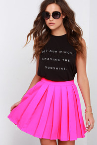 Beg and Pleat Hot Pink Skater Skirt at Lulus.com!