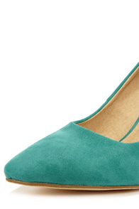 Karla 5 Sea Green Suede Pointed High Heels at Lulus.com!