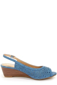 Rise 01 Blue Slingback Peep Toe Wedges at Lulus.com!