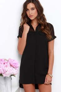 Boo Thang Black Button-Up Shift Dress at Lulus.com!