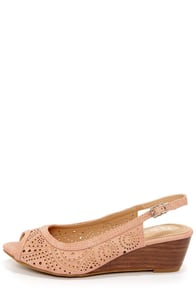 Rise 01 Blush Slingback Peep Toe Wedges